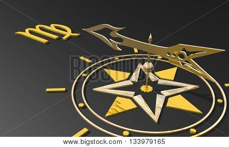 Maiden astrology sign. Golden compass arrow point to astrological symbol. 3D rendering