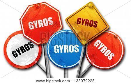Gyros, 3D rendering, street signs