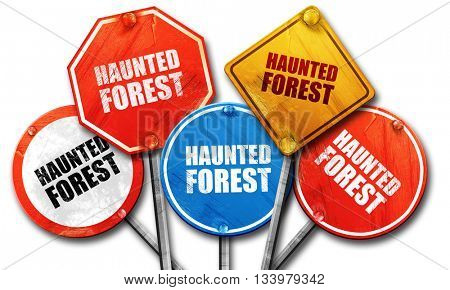 haunted forest, 3D rendering, street signs