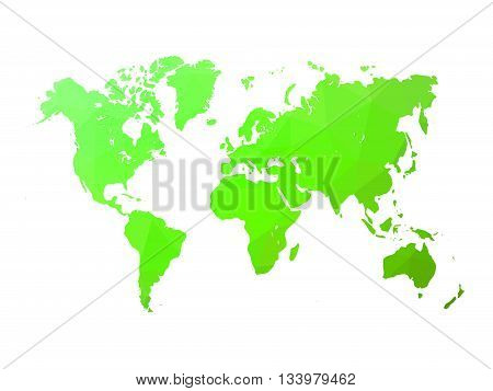 Low poly map of world. World map made of triangles. Green polygonal shape vector illustration on white background.