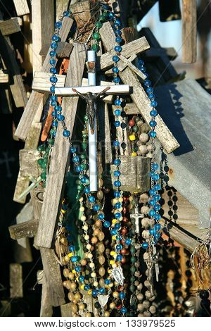 Crosses with beads, the Hill of Crosses near Shiauliu, Lithuania