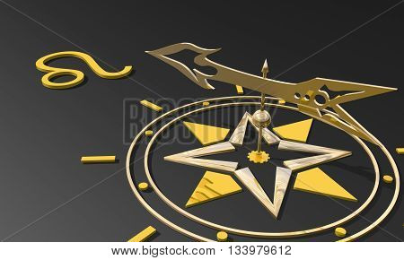 The lion astrology sign. Golden compass arrow point to astrological symbol. 3D rendering
