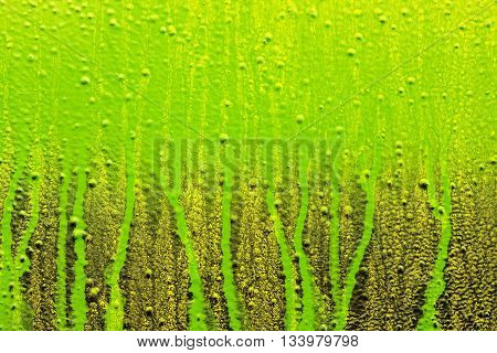 streaks of paint on the wall light green and gold colors art background