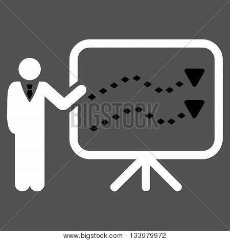 Trends Presentation vector toolbar icon. Style is bicolor flat icon symbol, black and white colors, gray background, rhombus dots.