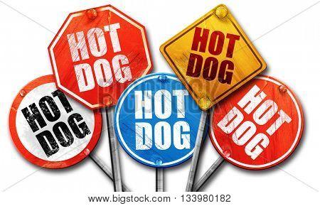 hotdog, 3D rendering, street signs