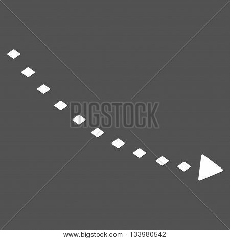 Dotted Decline Trend vector toolbar icon. Style is flat icon symbol, white color, gray background, rhombus dots.