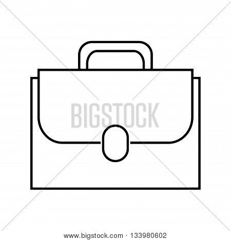 elegant business suitcase with strap and button , Vector