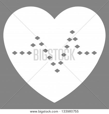 Dotted Heart Pulse vector toolbar icon. Style is flat icon symbol, white color, gray background, rhombus dots.
