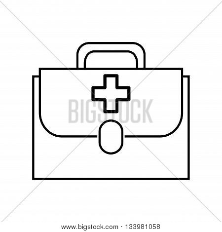 isolated first aid kit with handle linear design , Vector