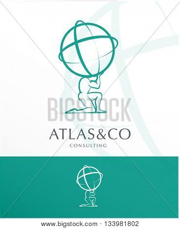 PREMIUM CORPORATE VECTOR LOGO / ICON DESIGN , ATLAS HOLDING THE WORLD