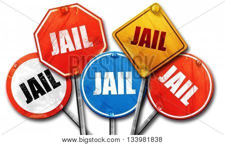 jail, 3D rendering, street signs