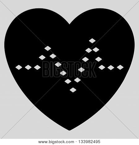 Dotted Heart Pulse vector toolbar icon. Style is flat icon symbol, black color, light gray background, rhombus dots.