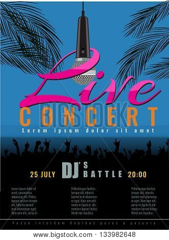 Summer Beach live concert and DJ Party Flyer or poster with flat color style design. Vector concert party advertising poster template design.