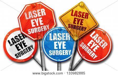 laser eye surgery, 3D rendering, street signs