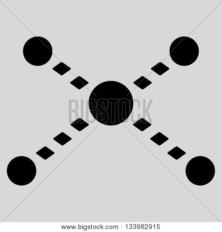 Dotted Links vector toolbar icon. Style is flat icon symbol, black color, light gray background, rhombus dots.