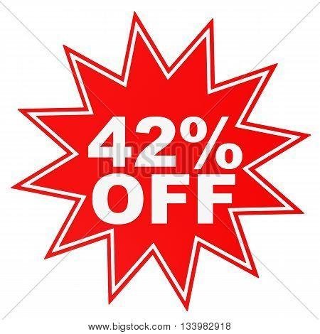 Discount 42 Percent Off. 3D Illustration.