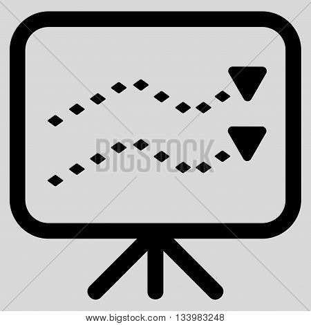 Dotted Trends Board vector toolbar icon. Style is flat icon symbol, black color, light gray background, rhombus dots.