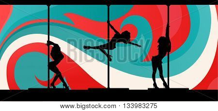 Black vector silhouettes of female pole dancers performing exotic pole moves on abstract background.