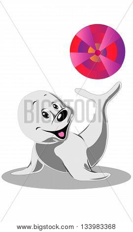 Cheerful playful small cute cartoon sea lion illustration