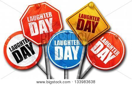 laugher day, 3D rendering, street signs