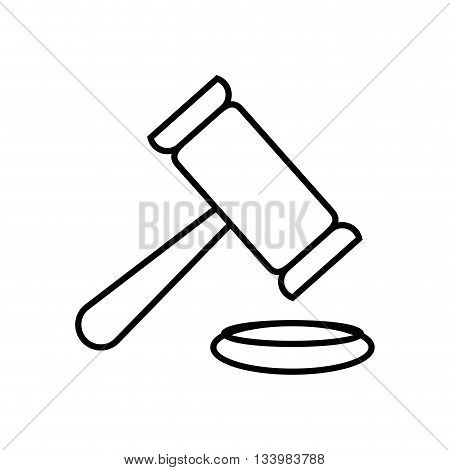 isolated justice gavel, hammer bidding linear design , Vector
