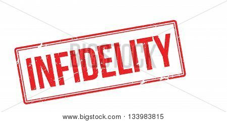 Infidelity Red Rubber Stamp On White