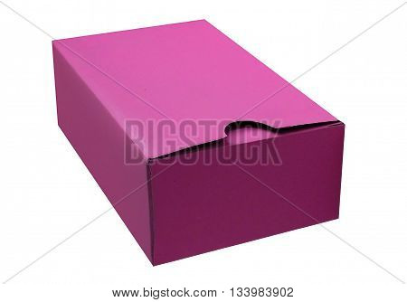 Magenta cardboard box isolated on a White background