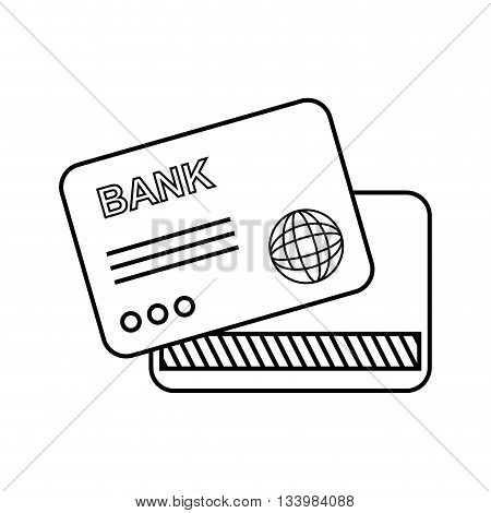 isolated bank card back and front view illustration , Vector