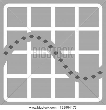 Dotted Function Chart vector toolbar icon. Style is bicolor flat icon symbol, dark gray and white colors, silver background, rhombus dots.