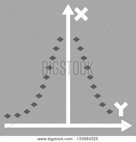 Dotted Gauss Plot vector toolbar icon. Style is bicolor flat icon symbol, dark gray and white colors, silver background, rhombus dots.