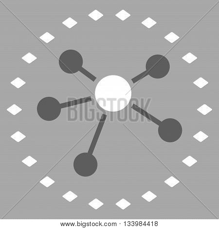 Dotted Links Diagram vector toolbar icon. Style is bicolor flat icon symbol, dark gray and white colors, silver background, rhombus dots.