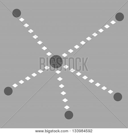 Dotted Relations vector toolbar icon. Style is bicolor flat icon symbol, dark gray and white colors, silver background, rhombus dots.