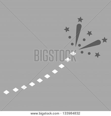 Fireworks Trace vector toolbar icon. Style is bicolor flat icon symbol, dark gray and white colors, silver background, rhombus dots.