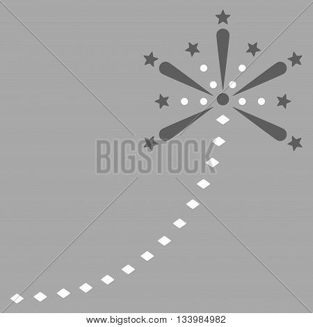 Salute Fireworks Trace vector toolbar icon. Style is bicolor flat icon symbol, dark gray and white colors, silver background, rhombus dots.