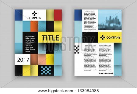 Brochure template design. Concept of square design with photo frame. Vector illustration. Brochure template for real estate company. Brochure template for print or website. - stock vector