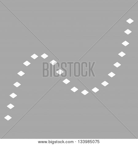 Dotted Curve vector toolbar icon. Style is flat icon symbol, white color, silver background, rhombus dots.