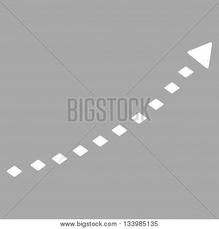 Dotted Growth Trend vector toolbar icon. Style is flat icon symbol, white color, silver background, rhombus dots.