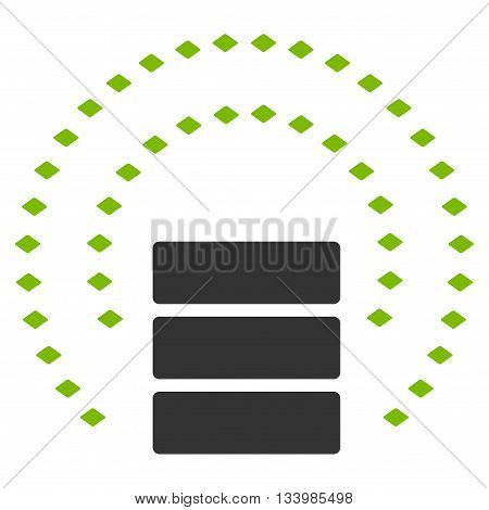 Database Sphere Shield vector toolbar icon. Style is bicolor flat icon symbol, eco green and gray colors, white background, rhombus dots.