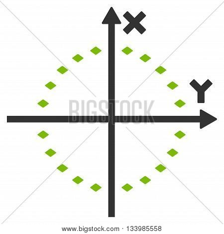 Dotted Circle Plot vector toolbar icon. Style is bicolor flat icon symbol, eco green and gray colors, white background, rhombus dots.
