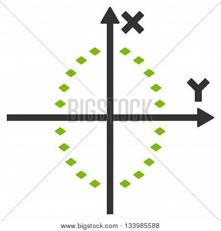 Dotted Ellipse Plot vector toolbar icon. Style is bicolor flat icon symbol, eco green and gray colors, white background, rhombus dots.