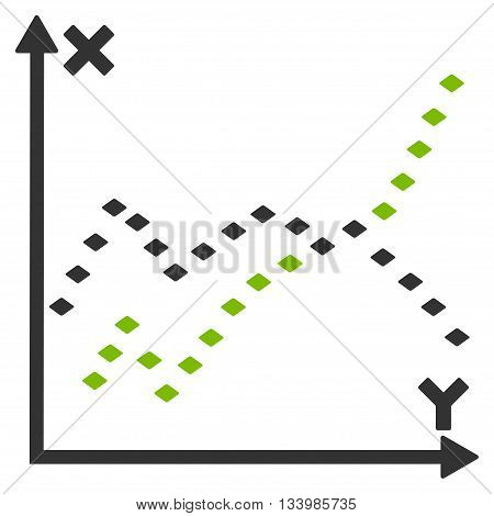 Dotted Functions Plot vector toolbar icon. Style is bicolor flat icon symbol, eco green and gray colors, white background, rhombus dots.