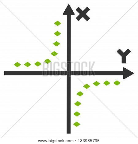 Dotted Hyperbola Plot vector toolbar icon. Style is bicolor flat icon symbol, eco green and gray colors, white background, rhombus dots.