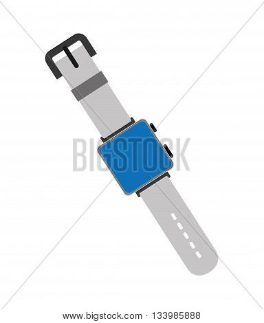 isolated smart watch icon blue screen, leash and button , Vector