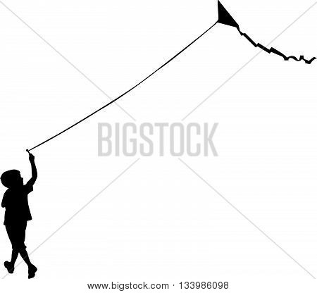 a child flying a kite, silhouette vector
