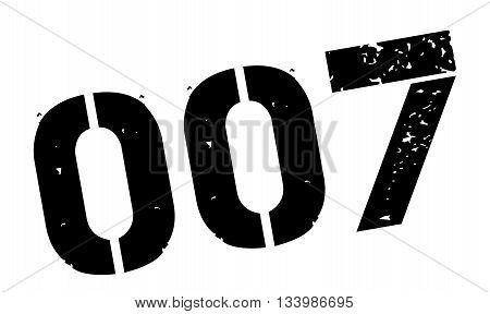 Zero Zero Seven Black Rubber Stamp On White