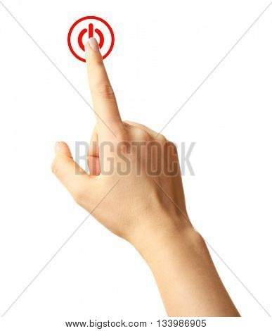 Finger press power button on virtual touch screen, modern technology concept. Isolated on white