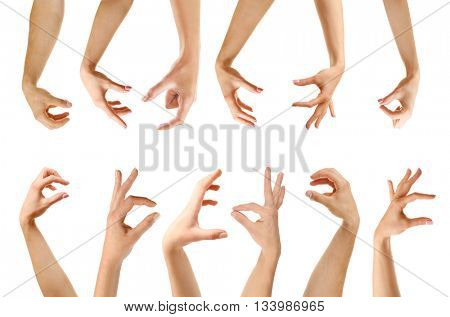 Set of empty different hands to grab objects, isolated on white