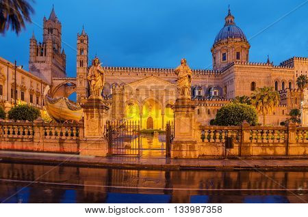 Palermo, Sicily, Italy: the cathedral in the early morning