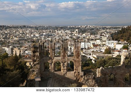 Amphitheater Acropolis. Fragment. Athens, Greece - May 6 2016