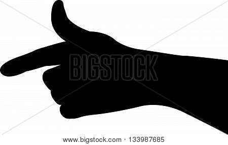 a hand black color silhouette vector artwork